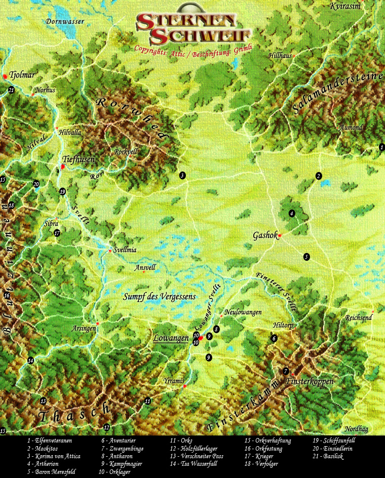 das schwarze auge karte Beschriftete InGame Karte des Svellttals   DSA Nordlandtrilogie